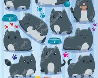 Cats clipart, cute cats, kitties clipart, cats, black cat, cute clipart -LN0132-