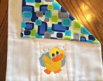Set of 3 Embroidered Cloth Diaper Burp Cloths