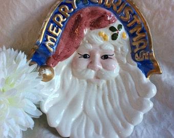 Corning Revere Santa Face Christmas Candy Dish