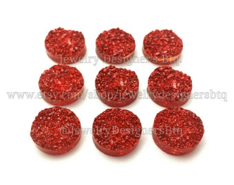 12mm Druzy Cabochons Faux Druzy Ruby Red Cabochon Resin Embellishment Jewelry Supplies Earring Findings Cameo Settings Kawaii Supply