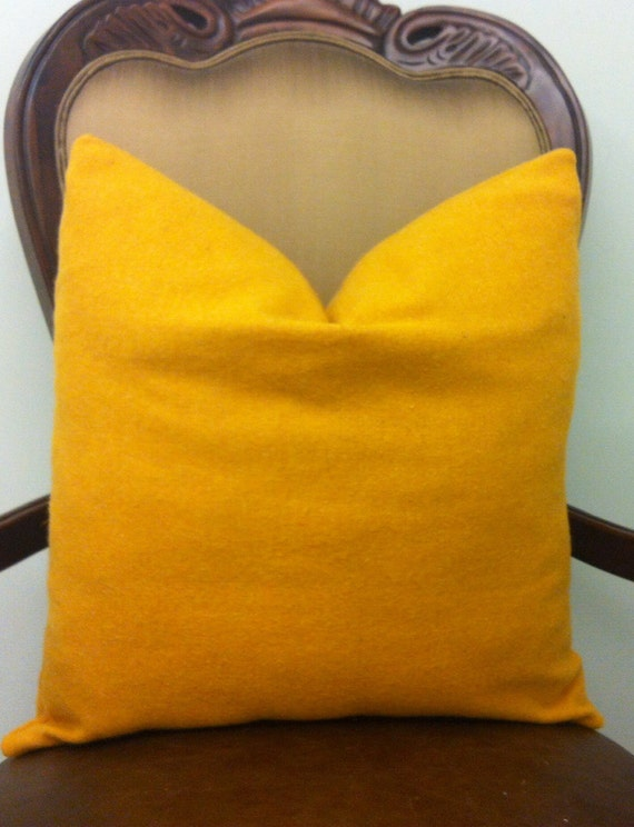 Mustard Throw Pillows Yellow Wool Pillow Covers by artdecopillow