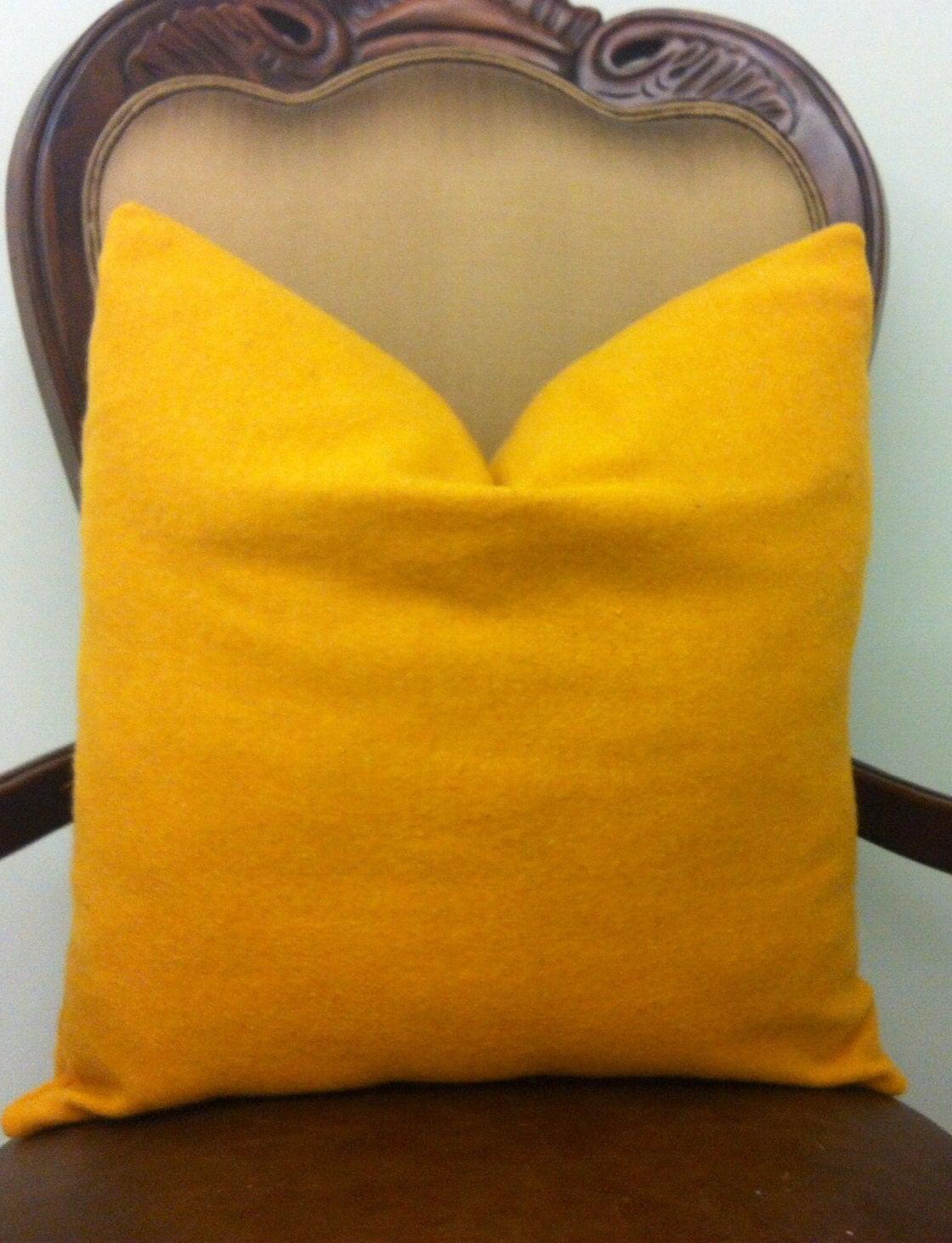 Mustard Throw Pillows Yellow Wool Pillow Covers by artdecopillow