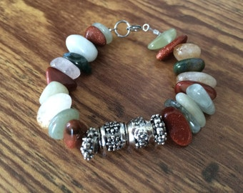 Mixed Gemstones Bracelet, brown and green