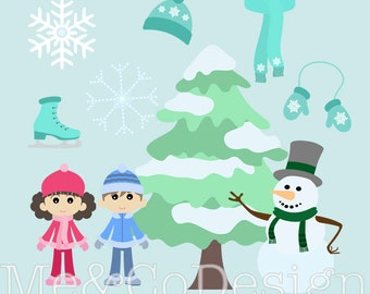Winter Wonderland Clipart, Fun Cute Clipart, Christmas tree, snow Instant Download, Personal and Commercial Use Clipart, Digital Clip Art