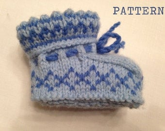 Fair Isle Baby Booties knitting Pattern - instant download - PDF format