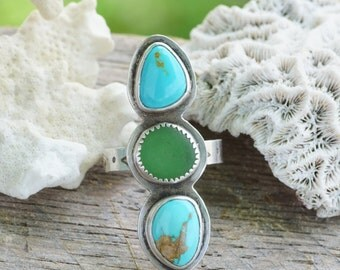 Natural Turquoise and Seaglass Triple Stone Sterling Silver Ring