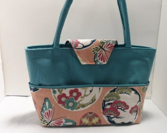 Blue/Peach Butterfly Shoulder Bag Tote