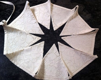 Vintage Ivory Lace and Fabric Bunting