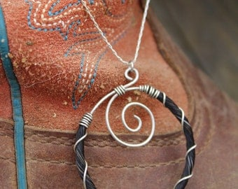 "Sterling silver wire wrapped horse hair pendant necklace ""The Center Ring"""