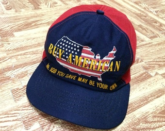 Rare vintage 70s 80s BUY AMERICAN Trucker Cap Made In Usa
