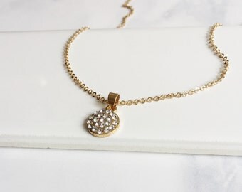 Gold Pave Crystal Sparkling Necklace