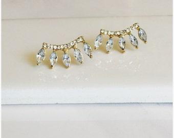 Spike Earrings, CZ Earrings