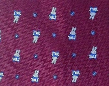 Winter Rabbit With Scarf Tie On Pale Red Theme Repeat Novelty Silk Necktie 19
