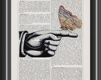 sign hand pointing right vintage dictionary art print home wall decor