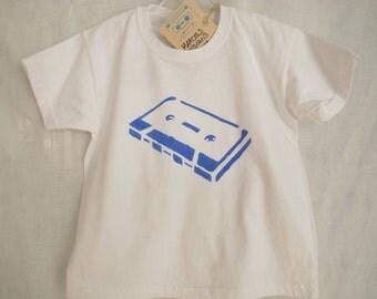 Cassette T-Shirt Youth Size 3-4 Cassette Tape Handmade Tee Boy Girl Toddler Preschool