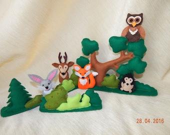 Finger puppet theater. Felt finger puppets. 5 forest animals - felt toys. Finger family. Animal finger puppets. Play forest.  Felt animals.