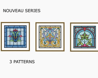 Cross stitch patterns, 3 Patterns,Modern Cross Stitch -  NOUVEAU SET - Instant Dowloadable PDF
