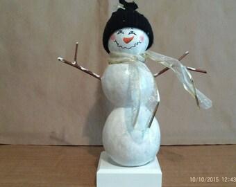 On Sale! Snowman Gourd on wooden base