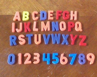 Vintage Magnetic Alphabet letters, Complete Set A-Z and 0-9, ABC 123 Letters and Numbers, Refrigerator Alphabet Magnets