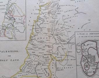 1819 Palestine original hand-coloured antique map, rare, historical, wall decor, home decor, available framed, Isaac Payne atlas