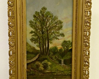 Antique Pond and Tree Landscape Painting in Excellent Condition