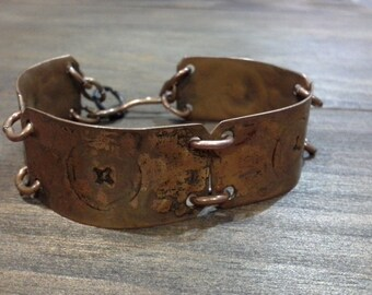 Vintage Brutalist Hand Beaten Copper Linked Bracelet Patina in Original Condition