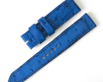 Light Blue Ostrich Leather Watch Strap