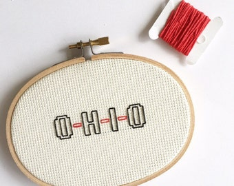 O-H-I-O Cross Stitch - Hoop Art - Embroidery - Wall Art - Graduation Gift