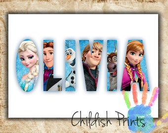 personalised FROZEN character name art gift idea printable