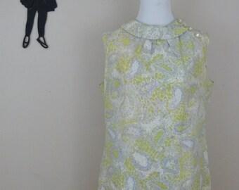 Vintage 1960's Paisley Shift Dress / 60s Kay Windsor Dress L/XL