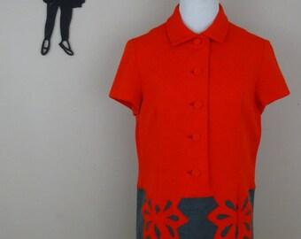 Vintage 1970's Knit Dress / 70s Red and Grey Dress XL/XXL