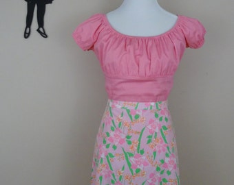 Vintage 1960's Lily Pulitzer Skirt / 60s The Lily Pink Floral Skirt L/XL  tr