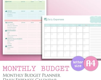 A4/LETTER - Monthly Expenses, Budget Finance Calendar Tracker PDF, Month Savings Expenditure Template, Printable Download Planner Organizer
