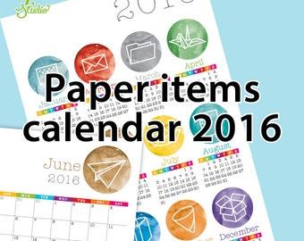 Paper items calendar 2016.