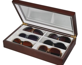Eyeglasses/ Sunglasses Storage Wooden Case with glass top (SD-206)