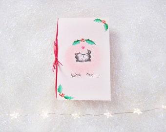 Christmas card, with blank envelope, kiss me greeting card, handmade, 13.5 x 8.5 cm