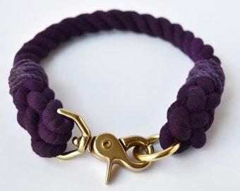 Custom Purple Rope Dog Collar