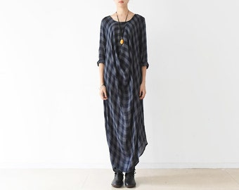 Womens Autumn Loose Fitting Plaid Irregular Elegance Cotton Dress Robe, Womans Autumn Casual Dress, Long Dress, Robe For Lady