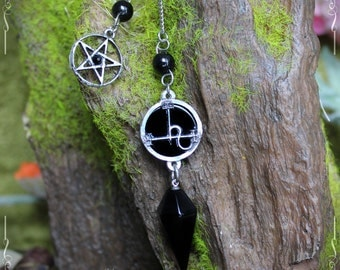 Sigil of Lilith, seal of Lilith pendulum with onyx