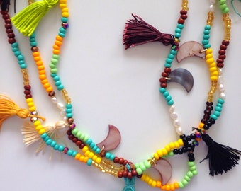 Tassel necklace, long fabric necklace Rosette Necklace Fabric Flower Fabric Jewelry Fabric Necklace Rosette Jewelry D210
