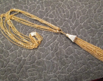 """BLOWOUT SALE>>Stunning 24"""" Gold TASSEL Necklace>> vintage 1950> new old stock>> sooo pretty!!"""