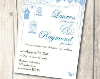 Lace & Birds Wedding Invitation Suite *Printable*