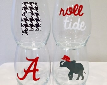 University of Alabama inspired wine glasses