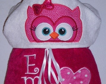 Kids hooded towel, Owl hooded towel, owl towel, beach towel