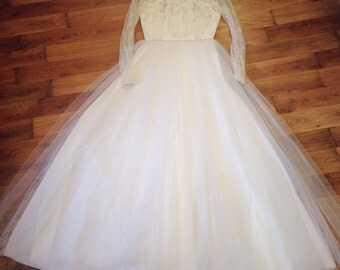 Long sleeve wedding dress, Princess wedding dress, illusion neck wedding dress, Vintage wedding dress, Lace wedding dress, Wedding dresses