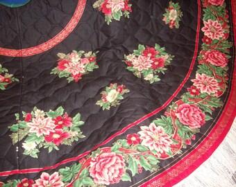 Poinesettias on Black Tree Skirt