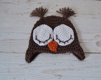 Crochet baby hat, crochet baby owl hat, baby hat, owl hat, sleepy owl, baby sleeping owl hat
