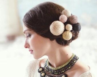 Alternative Hochzeit Kopfschmuck - böhmische Braut Kopfschmuck - Haar-Accessoires - Garn Kugel Haarteil gestrickt