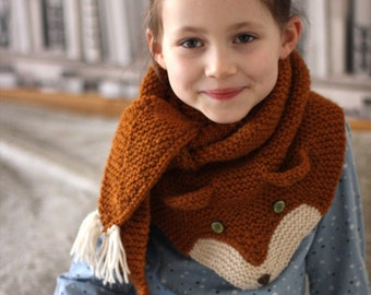 FOX trot Scarf Knitting pattern (one size fits kids and adults) - English & Russian