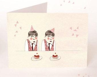 Party de cupcake de jumeaux - ans heureux - carte postale - carte d'anniversaire carte de vœux - Illustration - parti - jumeaux - Hourra garçons - celebration-